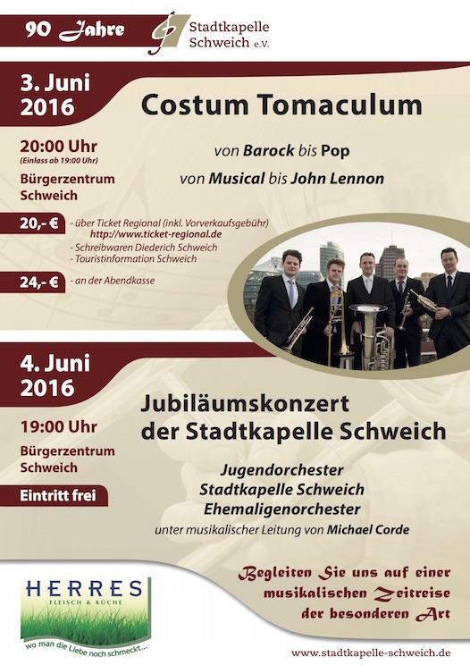 Plakat Jahreskonzert 2016 der Stadtkapelle Schweich e. V.