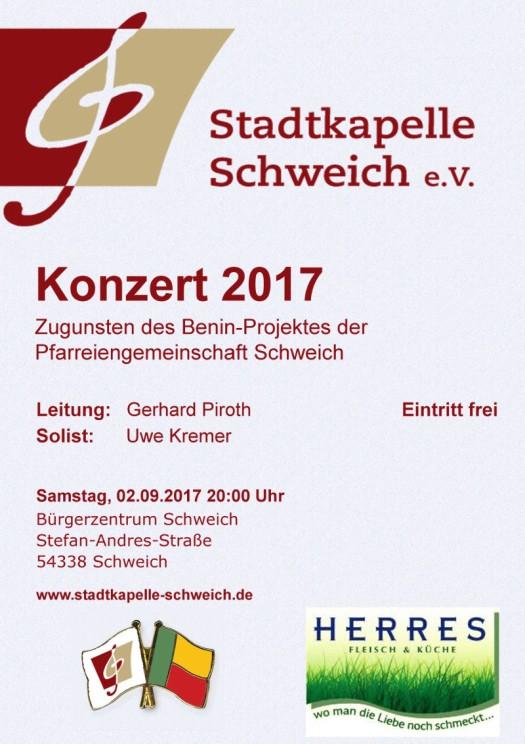 Plakat Jahreskonzert 2017 der Stadtkapelle Schweich e. V.
