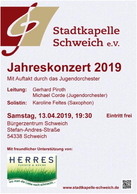 Plakat Jahreskonzert 2019 der Stadtkapelle Schweich e. V.